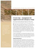 Cereal Crops: Management for Supplemental and Emergency Forage cover