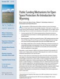 Wyoming Open Spaces: Public Funding Mechanism for Open Space Protection: An Introduction for Wyoming cover