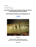 Plant Pathology Laboratory Report Plant Sample Submissions and Diagnostics for 2003 cover